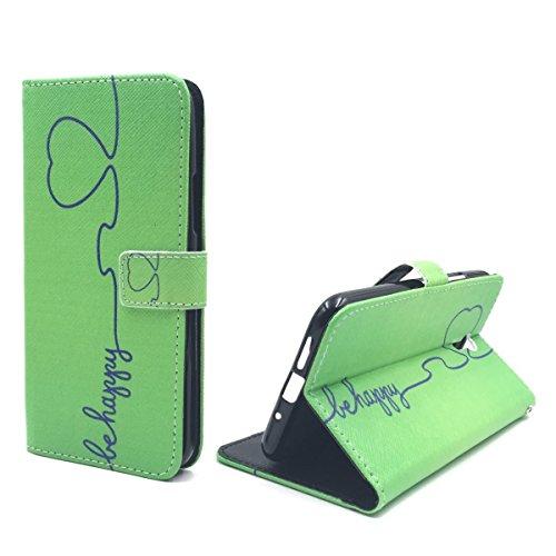 König Design Handyhülle Kompatibel mit Lenovo ZUK Z1 Handytasche Schutzhülle Tasche Flip Hülle mit Kreditkartenfächern - Be Happy Design Grün