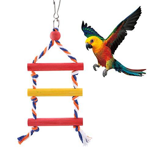 HEEPDD Papegaai Ladder, Kleurrijke Touw 3 Stap Ladder Vogel Training Speelgoed Natuurlijke Hang Swing Speelgoed voor Kooi Accessoires Cockatiel Conure Parakeet Macaw Finch