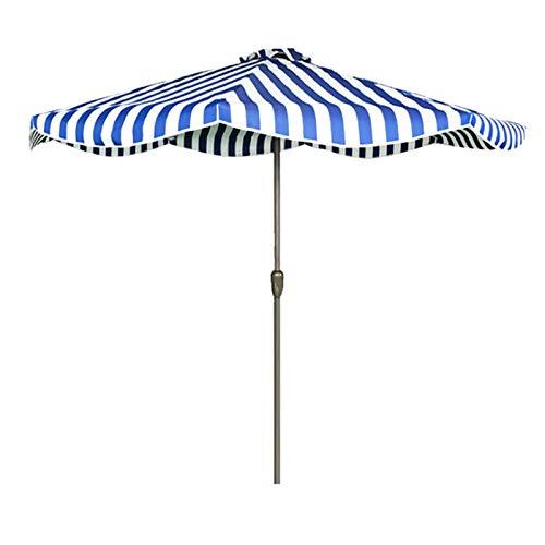 Sombrilla Terraza Parasol Jardin Los 9ft / Los 2.7m Sombrilla de Jardín, Rayas Al Aire Libre Sombrilla con Manivela para Patio/Playa/Piscina/Mercado, Protección UV & Tela Impermeable