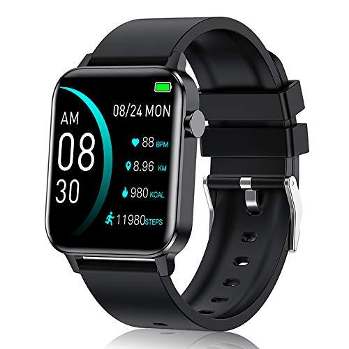 andfive 1.4 Inch Smartwatch, Reloj Inteligente con Fitness Tracker, Pulsómetro, Monitor de Sueño, Podómetro,Cronómetros, Pulsera Actividad Impermeable IP68 Hombre para Android e iOS, Negro