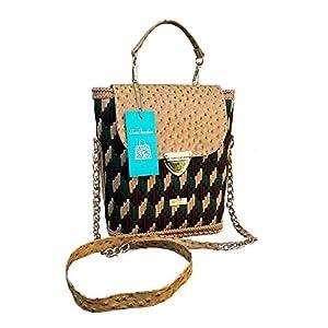 Damen Handtasche mit Stiekerei .Schultertasche an der Massiven Kette. Elegante Designer sandbeig-braun-grüne exklusive…