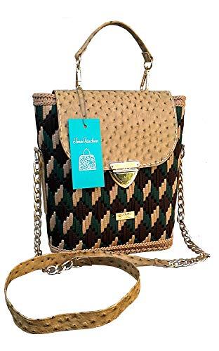 Damen Handtasche mit Stiekerei .Schultertasche an der Massiven Kette. Elegante Designer sandbeig-braun-grüne exklusive Tasche mit Strauß Muster