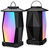 Onforu Outdoor Bluetooth Speakers, 2 Pack 25W Wireless Speakers, Various Speakers Pairing Supported, IPX5 Waterproof Patio Speakers with LED Mood Lights for Yard, Garden, Camping, Christmas
