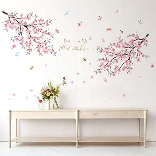 Runtoo Pegatinas de Pared Flor de Cereza Stickers Adhesivos Vinilo Rama Árbol Decorativas Infantiles Dormitorio Habitacion Bebe