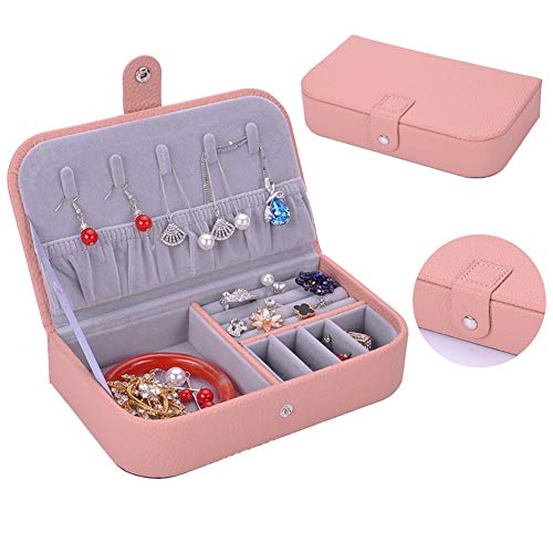Yiyu Schmuckkästchen Für Reise, Faux Leder Reise Schmuckbox Aufbewahrungsbox, Kleine Schmuckschatulle Für Ringe Ohrringe Halsketten Armbänder, Mittelgroß x (Color : Pink)