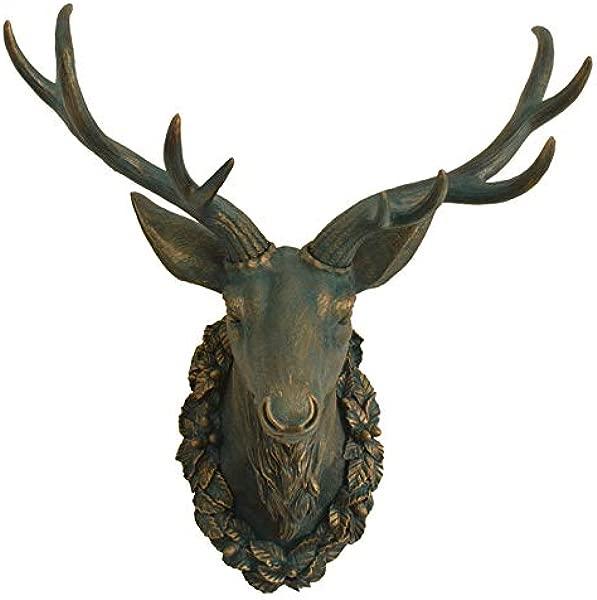 EWADQH European Creative Animal Deer Head Wall Hanging Living Room Porch Wall Decoration Pendant Color A