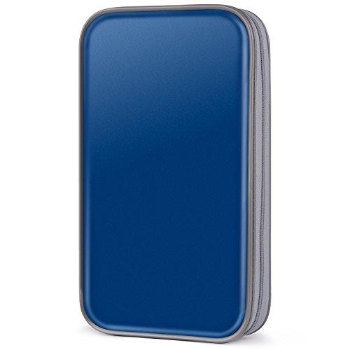 COOFIT CD Tasche, 80 CD/DVD Tasche DVD Lagerung DVD Case VCD Wallets Speicher Organizer Hard Plastik Schutz DVD Lagerung Disc Aufbewahrung DVD Hüllen(Blue)