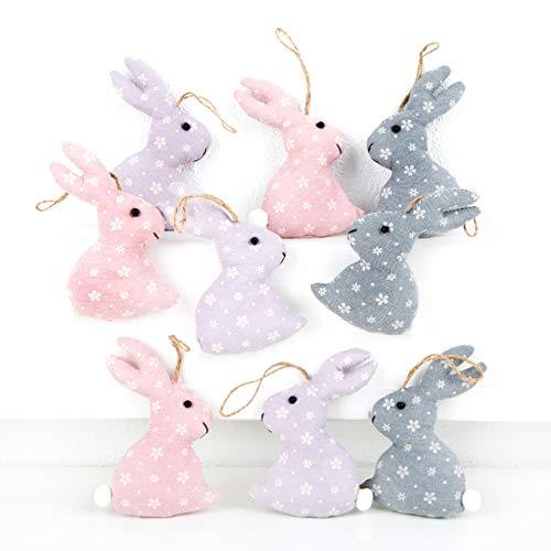 Logbuch-Verlag - 9 coniglietti pasquali in tessuto, rosa e blu, stile shabby, decorazione vintage pasquale