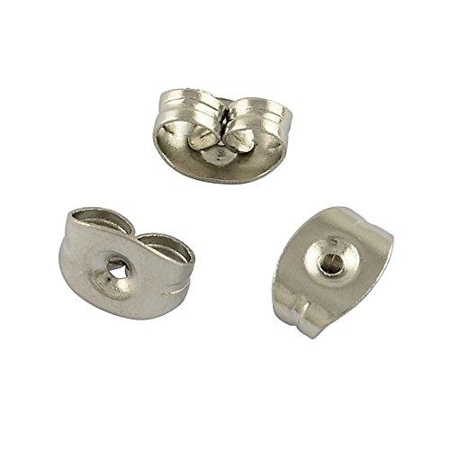 Perlin 40stk Ohrmutter Edelstahl Verschluss für Ohrstecker Ohrring Stopper Ohrstecker-Verschluss Kupplungen 6mm Silberfarbe