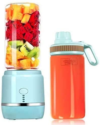 Rabbfay Tragbarer persönlicher Mini-Mixer, USB wiederaufladbar, Smart Fruits Smoothie Milch-Shakes Mixmaschine mit 2 Entsafter-Tassen, 400 ml, 4000 mAh, blau