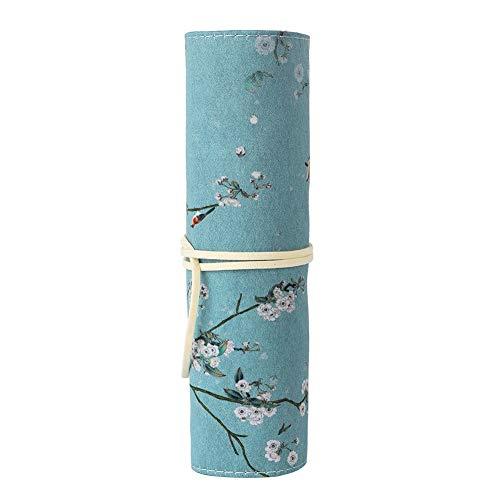 Bleistift Stift Wrap, chinesischen Stil Retro Federmäppchen Stifthalter mit großer Kapazität Federbeutel faltbare Make up Beutel, 4 Farben Optional(Blume)