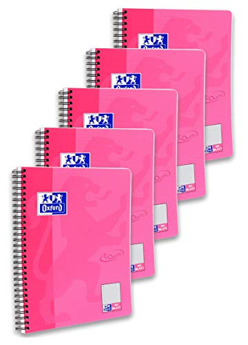 Oxford Touch Collegeblock B5, kariert, 80 Blatt, rosa, 5er Pack