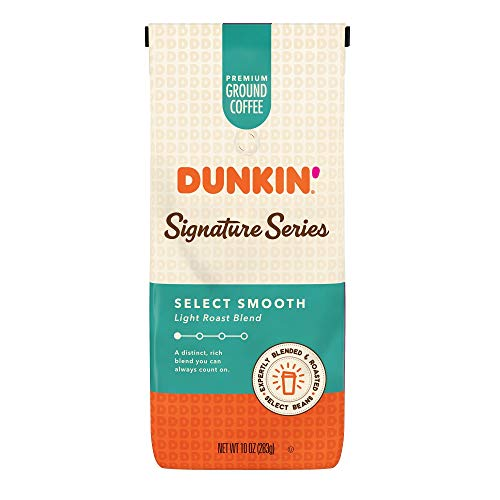 Dunkin' Signature Series Select Smooth Light Roast Blend Ground Coffee, 10 Ounces (Pack of 6)