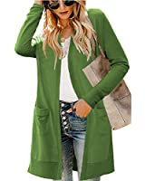 LIENRIDY Women's Long Sleeve V Neck Knit Sweater Cardigans Outerwear Olive M
