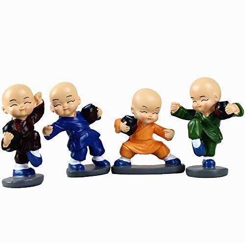 yu Un Conjunto de 4 estatuas de monjes, Adornos Decorativos de Resina del Monje, Decoraciones Individuales, Otros Regalos y Decoraciones en el Estante del Escritorio Principal del automóvil.