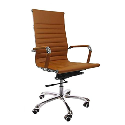 Vivol | Madrid Schreibtisch Stuhl Cognac | Kunstleder Bürostuhl Ergonomisch | Bürostuhl 120 kg | Drehstuhl mit Rollen und Armlehnen
