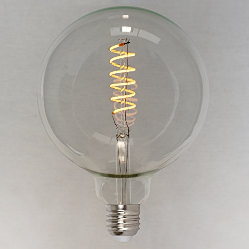 Dimmbares Vintage LED Edison Leuchtmittel 4W (40W) - Retro Vintage Industriell Stil Glühbirne 'Spiral' Globe sehr groß 125mm- The Retro Boutique ®