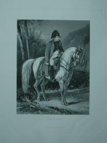Napoleon mit Hut auf einem weißen Pferd. Großer Stahlstich von A.H. Payne nach Charlet.