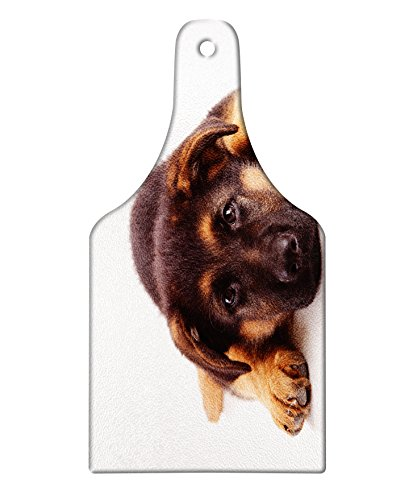 Lunarable German Shepherd Cutting Board, Puppy Hound Photograph Purebred Canine with Innocent Expression, Tempered Glass Serving Board, Wine Bottle Shape, Medium Size, Dark Brown
