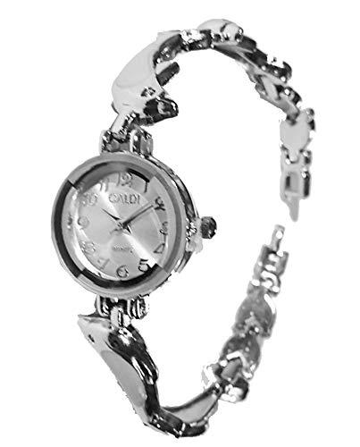 Reloj de pulsera para mujer metal, fondo blanco-Correa de metal de 22 cm, diseño de delfines, color blanco