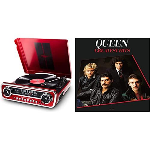 ION Audio Mustang LP - USB Plattenspieler mit Lautsprecher/Schallplattenspieler Retro mit Radio, Aux-Eingang und Vinyl zu MP3, roter Lack & Greatest Hits (Remastered 2011) (2lp) [Vinyl LP]