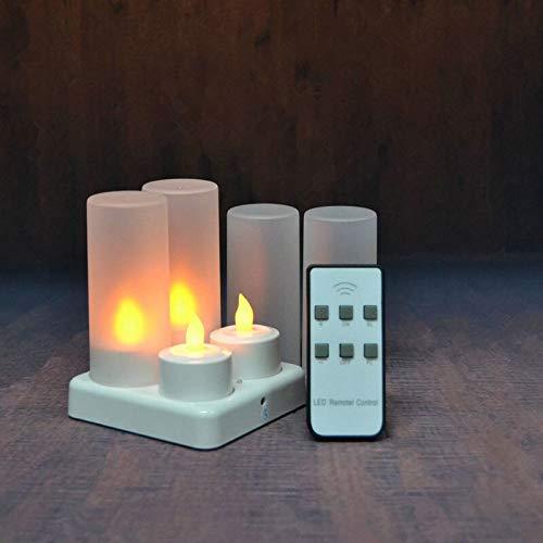 Practicidad Conjunto de 4/6/12 vela del LED con control remoto recargable parpadeo helado de té luz de la lámpara electrónica waxless de Navidad boda-Ámbar Firme ( Emitting Color : Set of 4 AMBER )