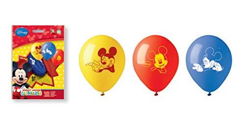 PartyCube- Set 10 Palloncini Colorati Mickey Mouse Club House, Multicolore, Taglia Unica, 33674