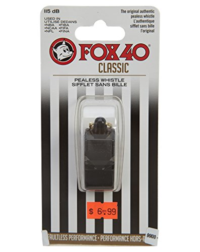 Fox 40 Classic Whistle Referee Safety Alert Dog Rescue, Lifeguard-Black (2-Pack)