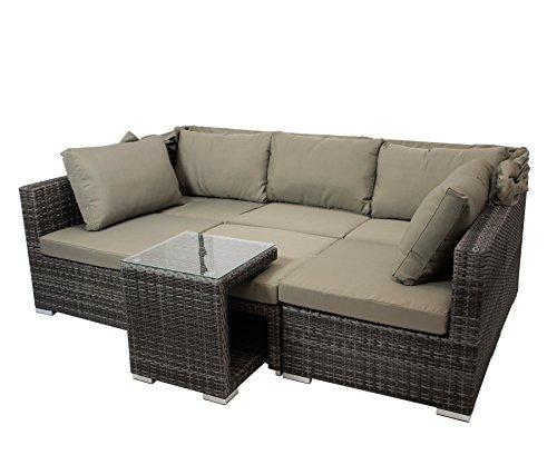 DEGAMO Funktions Loungeset MANACOR 16-teilig, Alu + Geflecht grau Bicolor, Polster taupefarben, XL-Ausführung mit 215cm Breite BZW. 195cm Liegefläche/Sitzbreite - 5