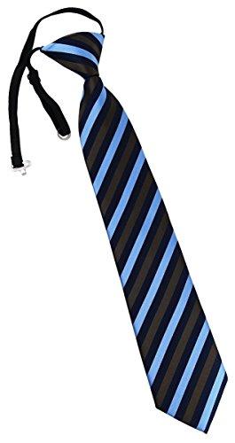 TigerTie Kinderkrawatte braun hellblau gestreift - Krawatte ist vorgebunden mit Gummizug