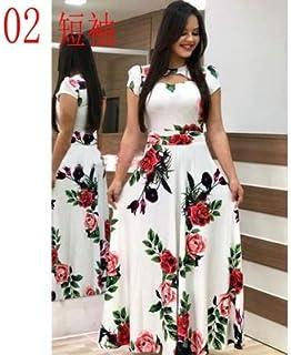 Elegant autumn Women's Dress 2020 Casual Bohemia Flower Print Maxi Dresses Fashion Hollow Out Tunic Dress Plus Size 5XL brand:TONWIN (Color : B short, Size : 5XL)