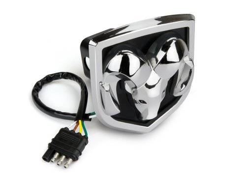 Reese Towpower 86066 Licensed LED Hitch Light Cover with Dodge Ram Logo, Chrome Finish