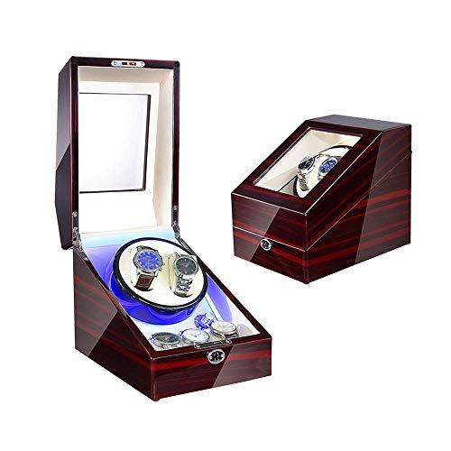 SGSG Watch 1 Pcs Watch Winder Box 5, para Relojes automáticos, con luz LED Azul, Exterior de Pintura de Piano de Carcasa de Madera, Cuero de PU, configuración de 4 Modos de rotación