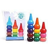 CAFFAINA Cera de Dibujo de Pintura Lavable no tóxica de 12 Colores 3D para niños pequeños