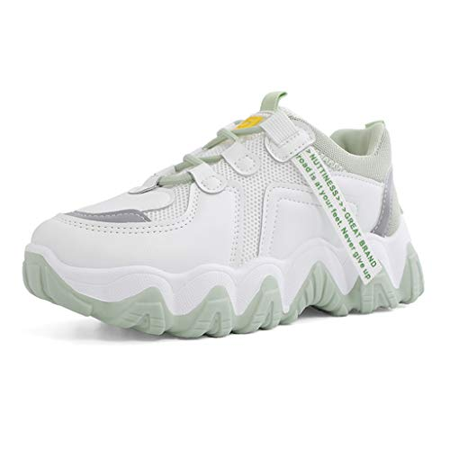 YCKZZR Women's Lace-Up Sneaker,Sport Women's Energy Sneaker Summer Thick Bottom Casual All-Match Breathable Mesh Surface, Students,Green,38