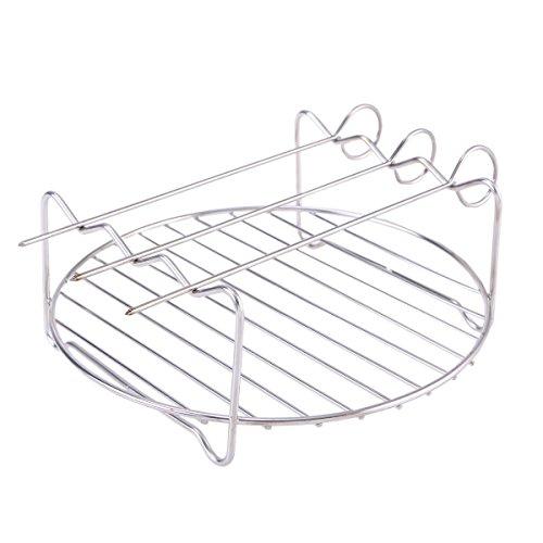BESTONZON 4 Stücke Metall Regale Edelstahl Rösten Design Display Racks Premium Wandbehang Partition Pflanzenständer für Picknick Im Freien Mikrowelle (1 Stücke Regal und 3 Stücke Pins)