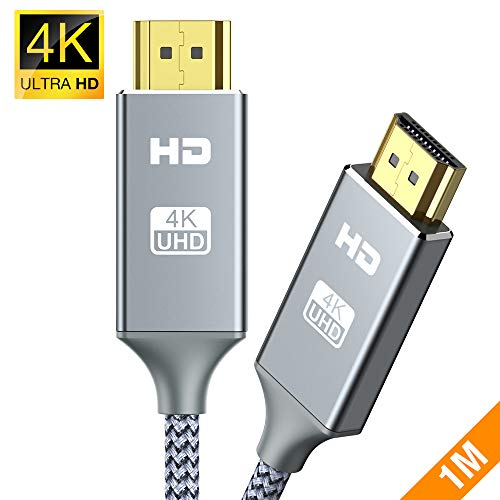4k Hdmi Kabel 1Meter,Highspeed Snowkids 4K@60Hz 18Gbps Hdmi 1m 2.0 Kabel,Nylon Geflecht Vergoldete Anschlüsse mit Ethernet/Audio Rückkanal, Kompatibel mit Video 4K UHD 2160p,HD 1080p,3D Xbox PS3/4 PC
