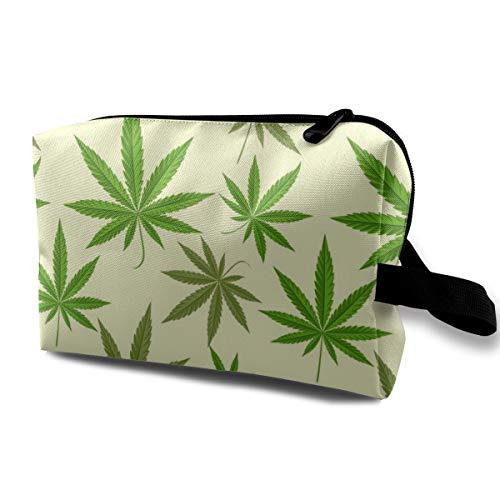 Bolsa de cosméticos para mujeres, Fondo de marihuana verde Ilustración vectorial Patrón sin fisuras Estuche