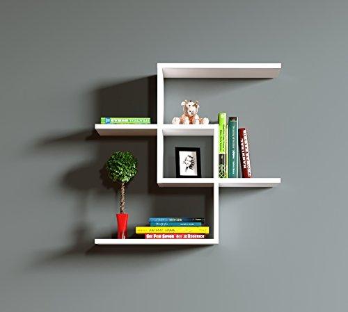 CHAIN Mensola da muro - Mensola Parete - Mensola Libreria - Scaffale pensile per studio / soggiorno in Design moderno (Bianco)