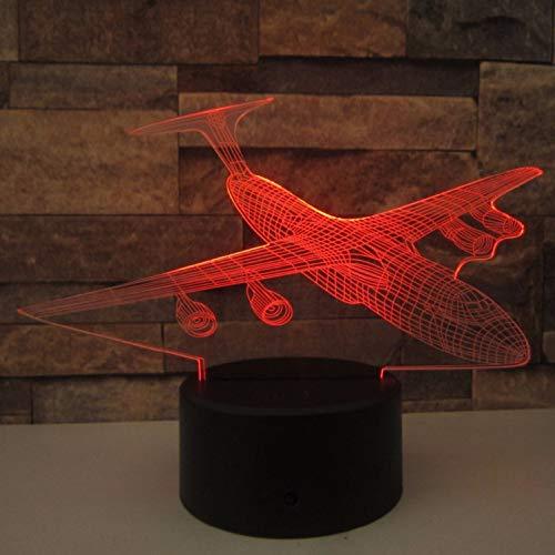 Nachtlicht-optische Täuschungslampe Flugzeug 3d Nachtbeleuchtung Beleuchtung Fernlicht Flugzeugtisch Lampe 7 Verfärbung Aa*3 Batterie Mit Innenbeleuchtung