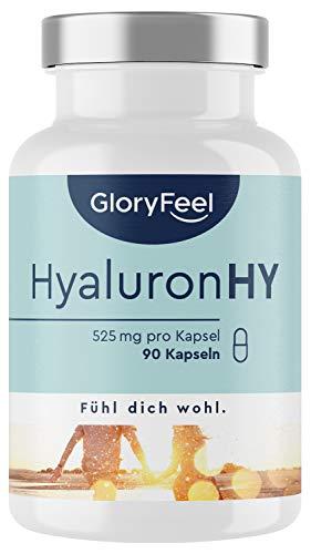 Hyaluronsäure Kapseln - Hochdosiert 525mg - 500-700 kDa - 90 Kapseln - Laborgeprüft und vegan ohne Zusätze hergestellt in Deutschland
