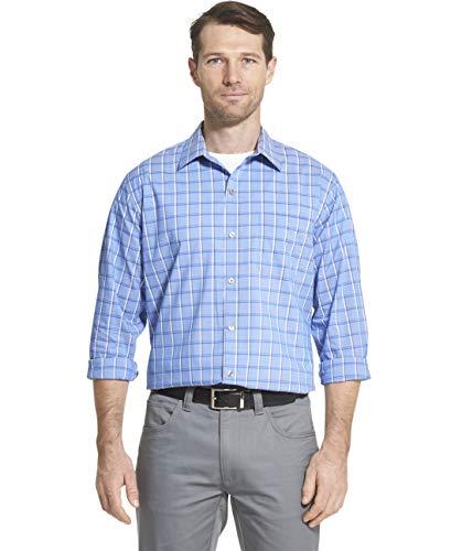 Van Heusen Men's Traveler Stretch Long Sleeve Button Down Blue/White/Purple Shirt, BLU Crisp, Medium