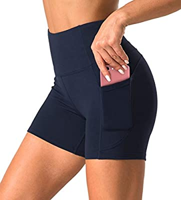 Dragon Fit High Waist Yoga Shorts for Women with 2 Side Pockets Tummy Control Running Home Workout Shorts (Small, Navy Blue)