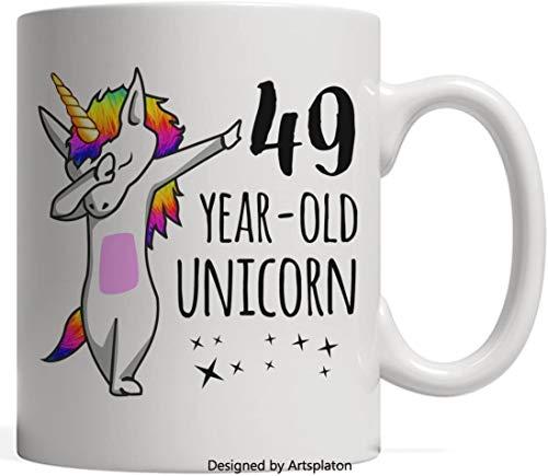 Cuarenta y nueve años de edad Taza de unicornio Dabbing - Las leyendas nacen en 1968 49 cumpleaños y aniversario Regalo de cumpleaños - La vida comienza a los 49 Cree en el arco iris mágico Dab Hip -