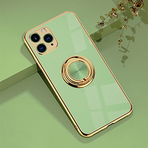 Jacyren Hülle für iPhone 11 Pro Handyhülle,iPhone 11 Pro Schutzhülle Ultradünnes magnetische KFZ-Halterung mit 360-Grad Finger-Halter Schale für iPhone 11 Pro (iPhone 11 Pro, Matcha)