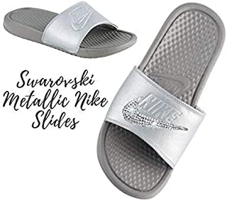 4b4f4b490f3d8 Swarovski Nike BEDAZZLED Slides METALLIC GREY Nike Slip On Shoes For Women  with Crystals Custom Nike