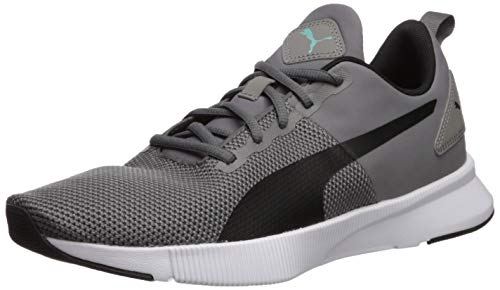 PUMA Flyer Runner Sneaker, Charcoal Gray Black-Blue Turquoise, 11 M US