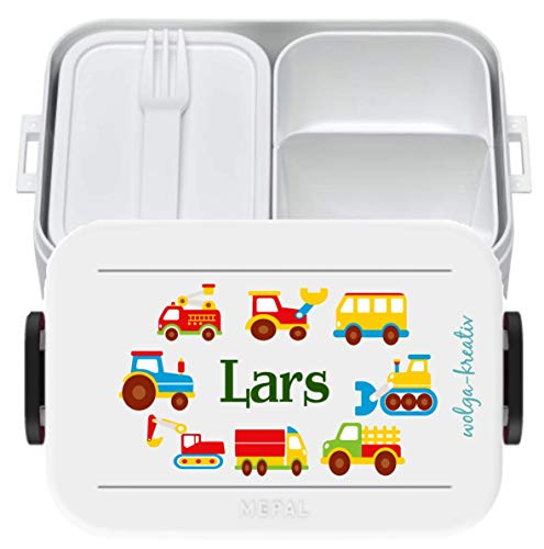 wolga-kreativ Brotdose Lunchbox Bento Box Kinder Bunte Autos mit Namen Rosti Mepal Obsteinsatz für Mädchen Jungen personalisiert Brotbüchse Brotdosen Kindergarten Schule Schultüte füllen