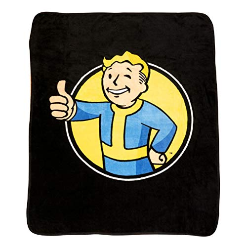 Fallout Vault Boy Large Fleece Blanket - Licensed Bethesda Merchandise - Novelty Video Game Throw and Home Accessory - Perfect Gaming Gift Birthdays, Holidays, House Warming Parties and More