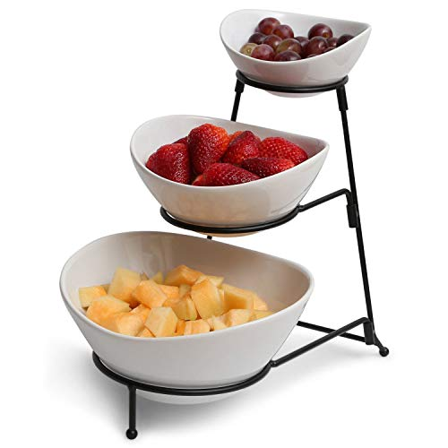 3-Tier Oval Bowl Black Server Set - Food Server Display Stand - Chip and Dip Set Party Food Server Display Set - Three Tiered Snack Server with Metal Rack